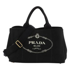 Prada Canapa Convertible Tote Canvas Large