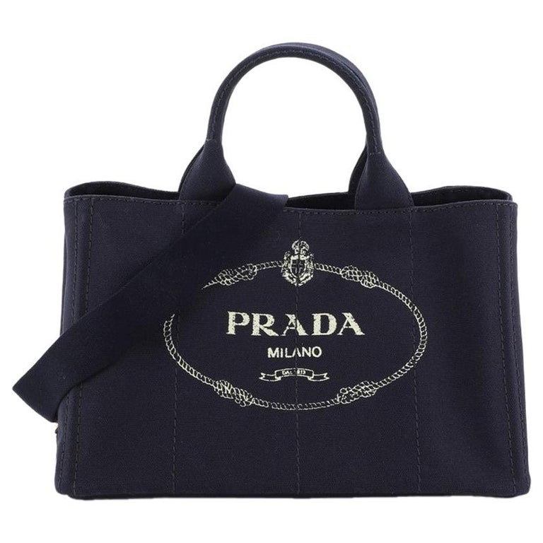 Prada Canapa Convertible Tote Canvas Medium