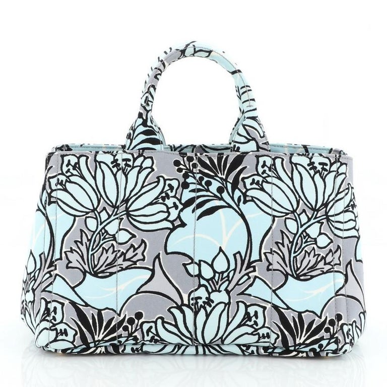 Prada Canapa Convertible Tote Printed Canvas Medium  In Good Condition For Sale In New York, NY