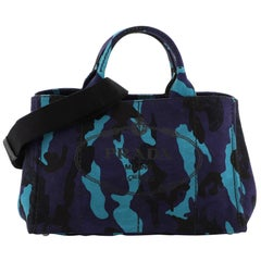 Prada Canapa Convertible Tote Printed Canvas Medium