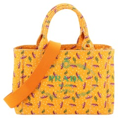 Prada Canapa Convertible Tote Printed Canvas Mini