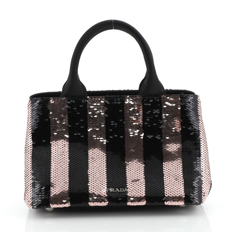 Black Prada Canapa Convertible Tote Sequins Mini  For Sale