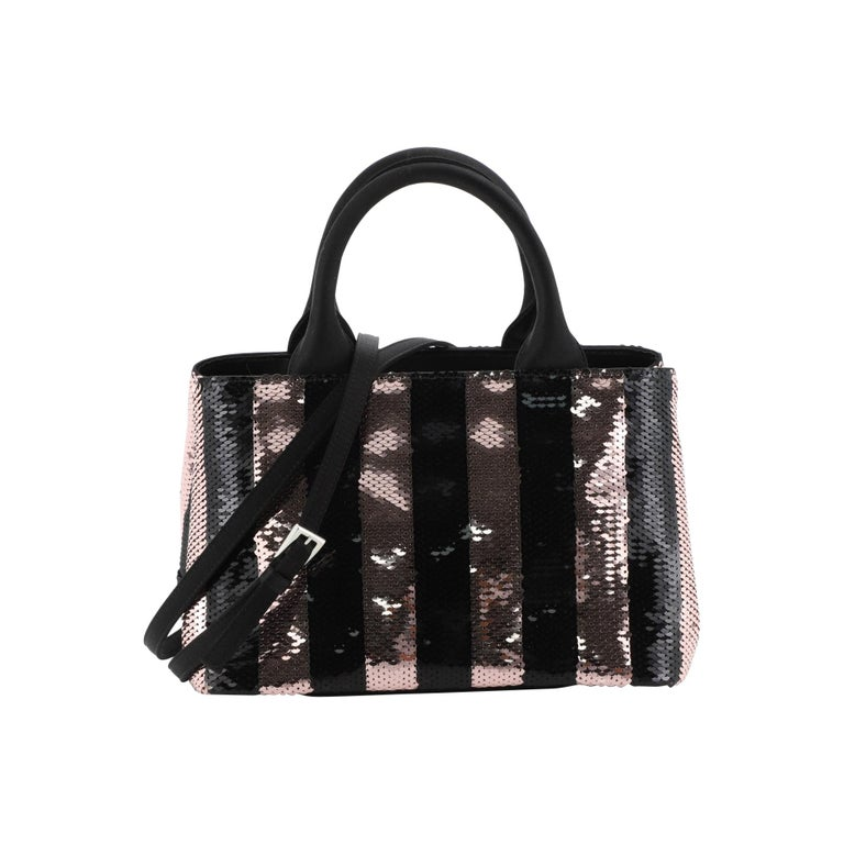 Prada Canapa Convertible Tote Sequins Mini  For Sale