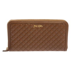 Prada Cannella Quilted Soft Leather Zip Around Wallet
