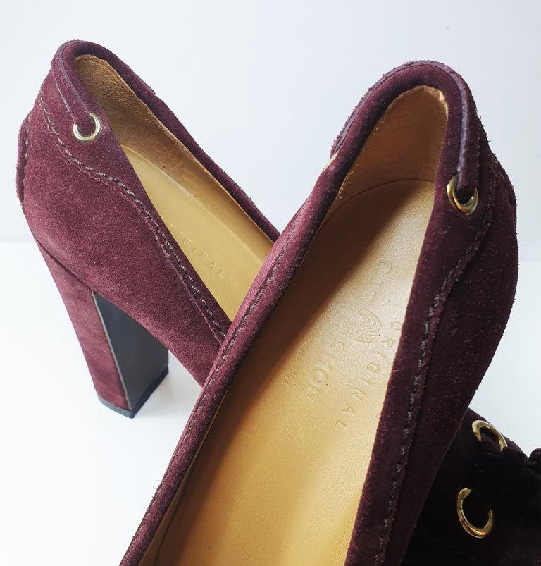 Black Prada Car Shoe Womens Burgundy Fringe Tie Suede Wedge Heels For Sale