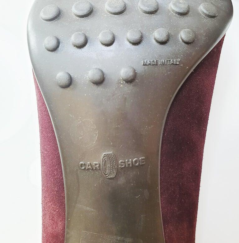 Women's Prada Car Shoe Womens Burgundy Fringe Tie Suede Wedge Heels For Sale