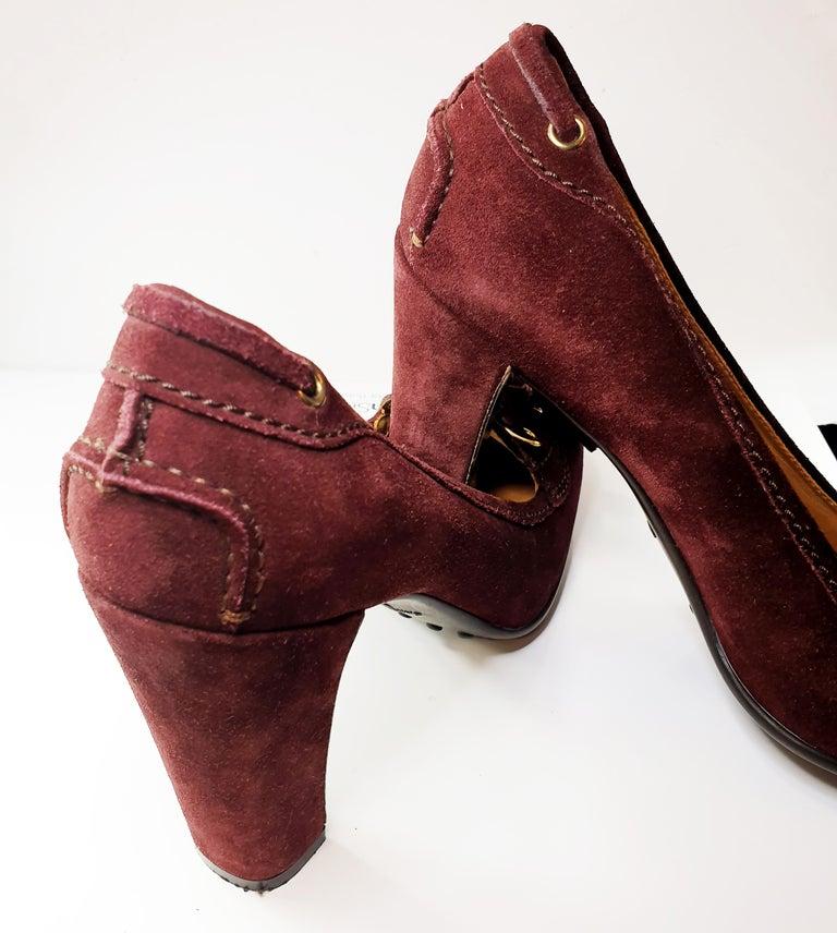 Prada Car Shoe Womens Burgundy Fringe Tie Suede Wedge Heels For Sale 1