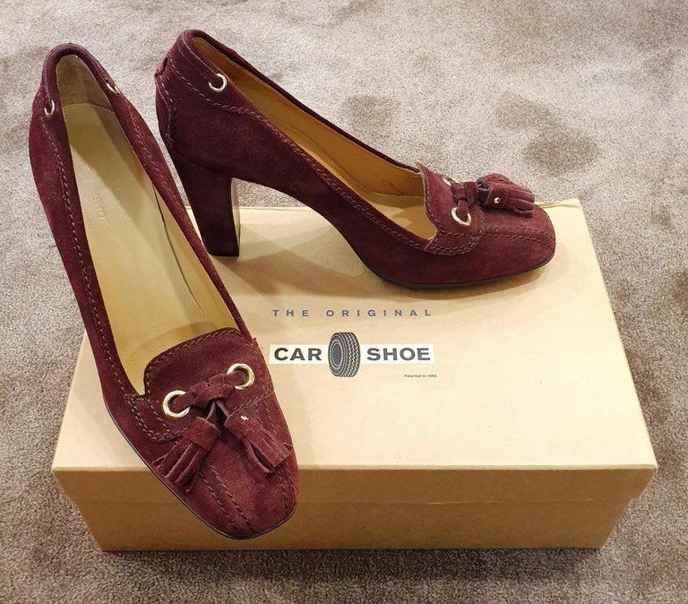 Prada Car Shoe Womens Burgundy Fringe Tie Suede Wedge Heels For Sale 2