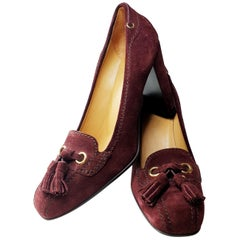 Prada Car Shoe Womens Burgundy Fringe Tie Suede Wedge Heels