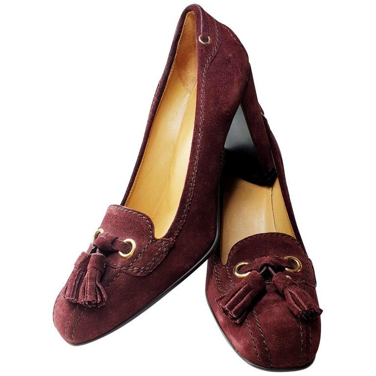 Prada Car Shoe Womens Burgundy Fringe Tie Suede Wedge Heels For Sale