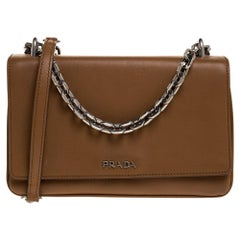 Prada Caramel Brown Leather Flap Chain Shoulder Bag