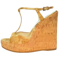 Prada Caramel Cork Wedge Platform Heel Sandals