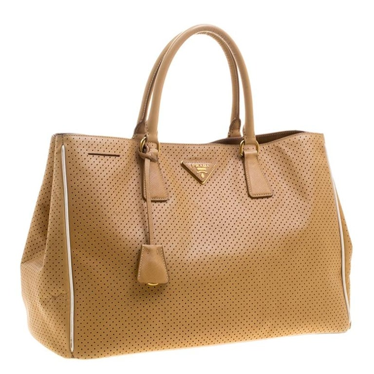 Women's Prada Caramel Perforated Saffiano Lux Leather Large Gardener's Tote For Sale