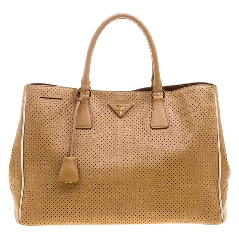 Prada Caramel Perforated Saffiano Lux Leather Large Gardener's Tote For Sale