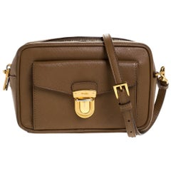 Prada Caramel Saffiano Leather Camera Pushlock Crossbody Bag
