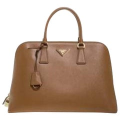 Prada Caramel Saffiano Lux Leather Medium Promenade Bag