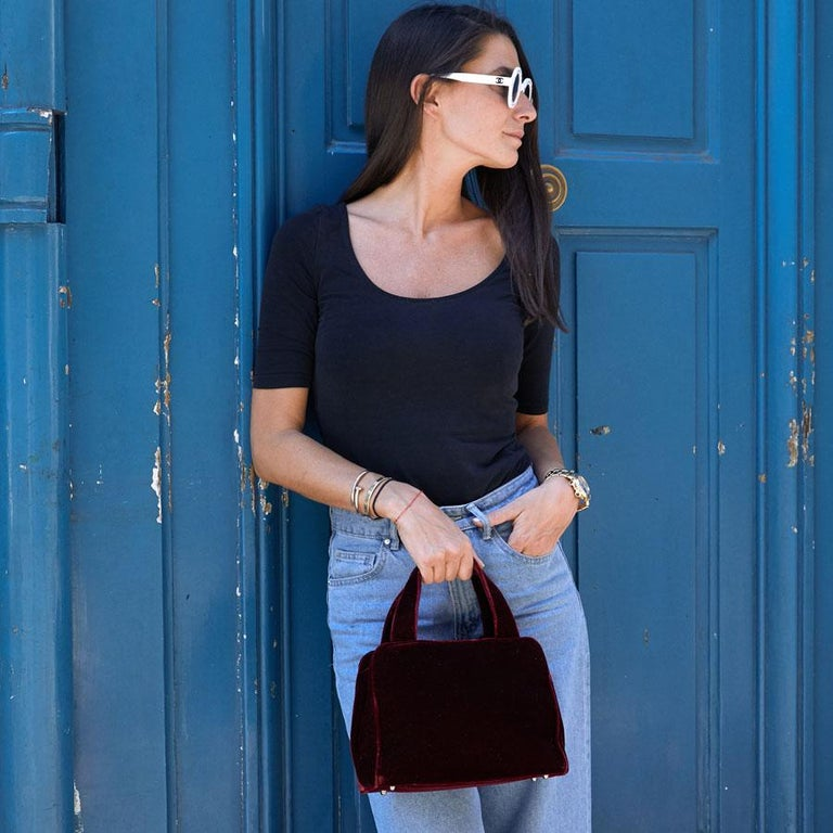 PRADA Cardinal Red Velvet Bag Double Handle For Sale 10