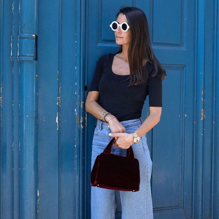 PRADA Cardinal Red Velvet Bag Double Handle For Sale 12
