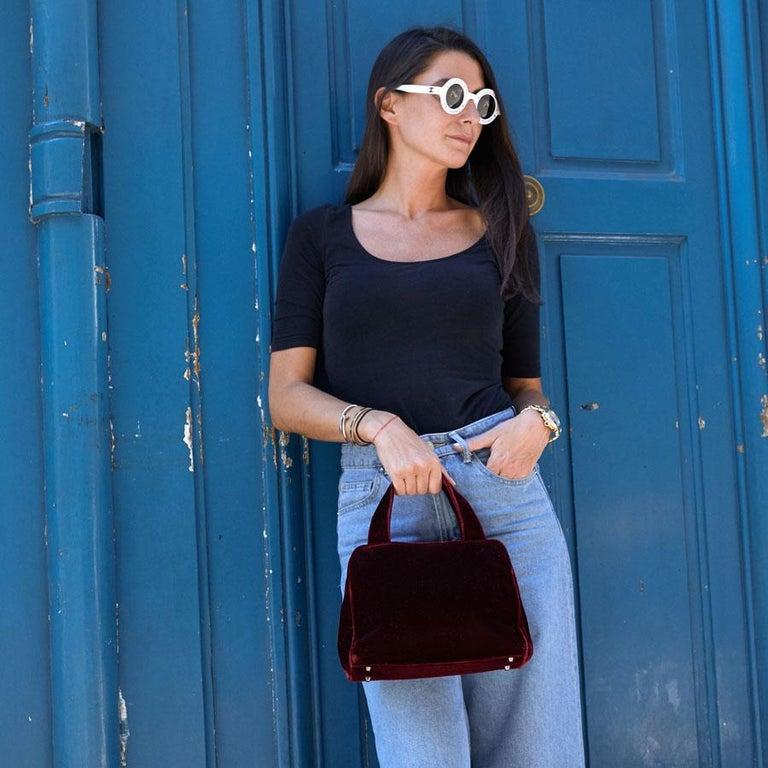 PRADA Cardinal Red Velvet Bag Double Handle For Sale 13