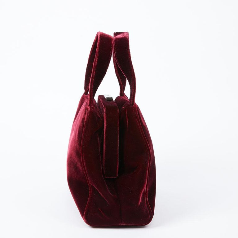 Black PRADA Cardinal Red Velvet Bag Double Handle For Sale