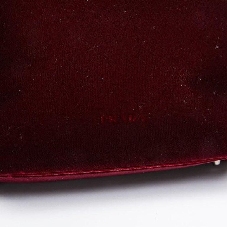 PRADA Cardinal Red Velvet Bag Double Handle For Sale 4