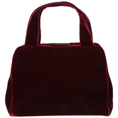 PRADA Cardinal Red Velvet Bag Double Handle