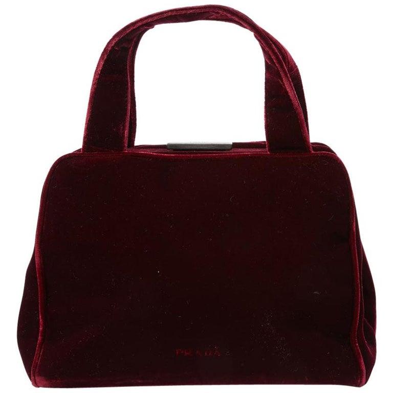 PRADA Cardinal Red Velvet Bag Double Handle For Sale
