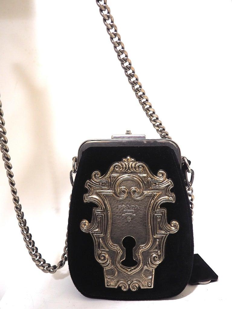 Black Prada Catwalk velvet lock purse NWOT For Sale