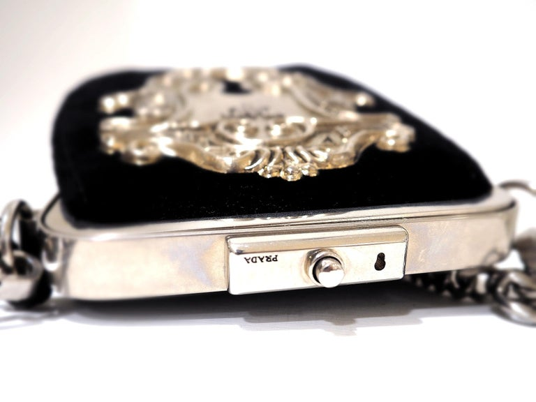 Women's or Men's Prada Catwalk velvet lock purse NWOT For Sale