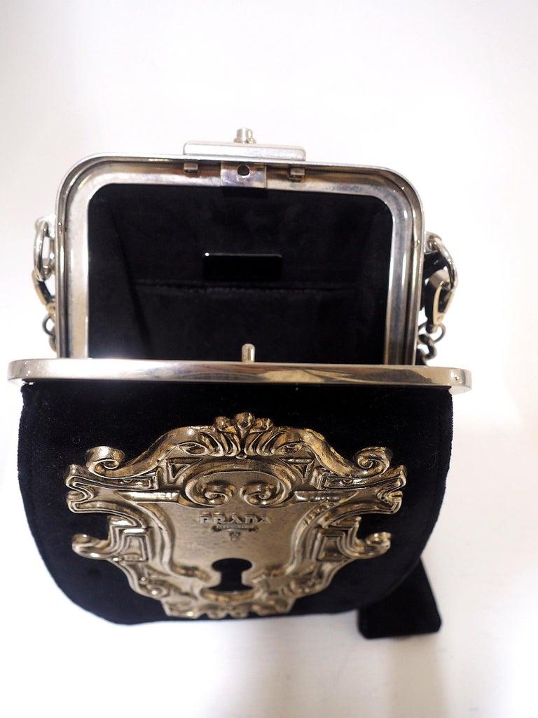 Prada Catwalk velvet lock purse NWOT For Sale 1