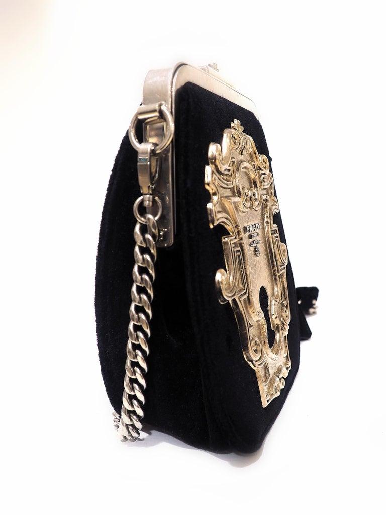 Prada Catwalk velvet lock purse NWOT For Sale 3