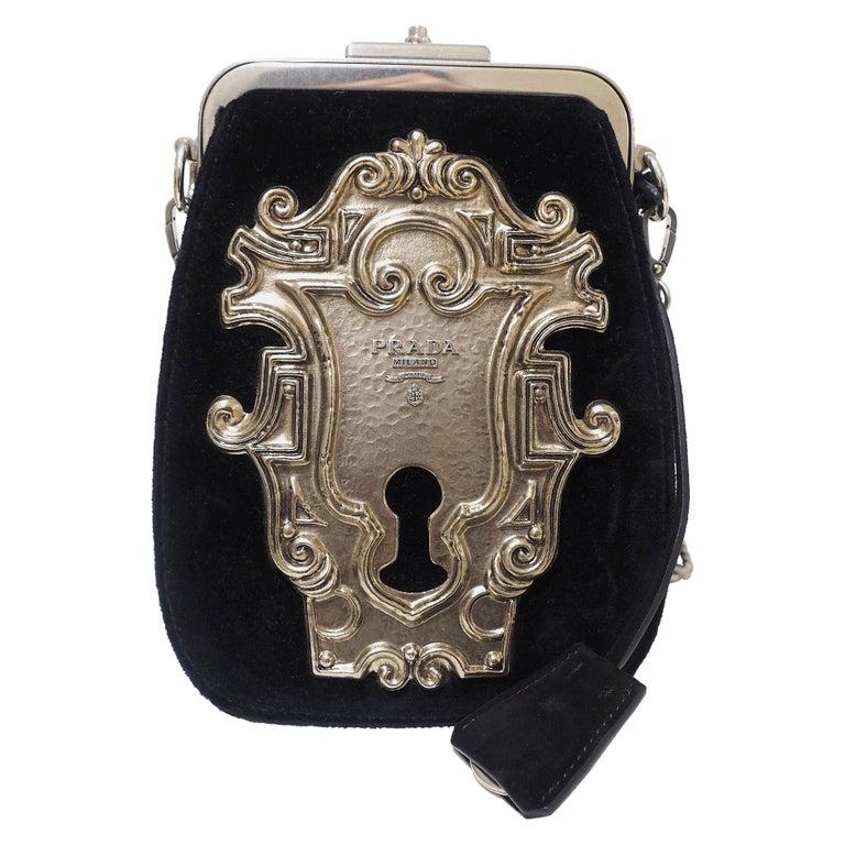 Prada Catwalk velvet lock purse NWOT For Sale