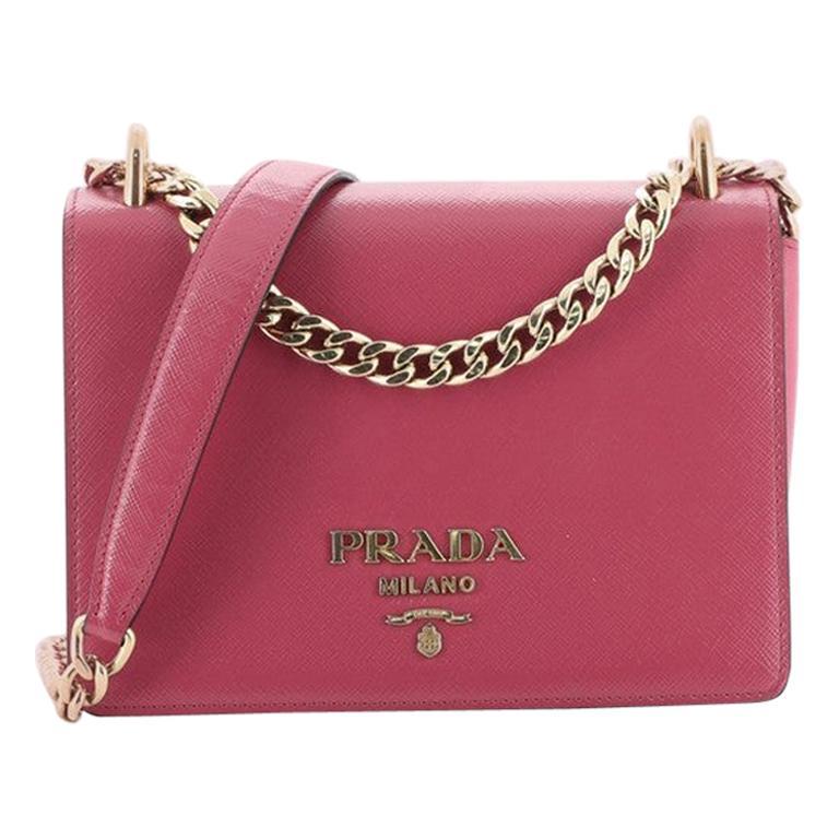 Prada Chain Flap Crossbody Bag Vernice Saffiano Leather Small For Sale