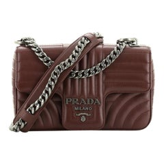 Prada Chain Flap Shoulder Bag Diagramme Quilted Leather Small