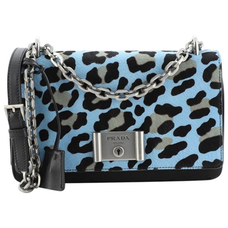 Prada Chain Flap Shoulder Bag Pony Hair and Nylon Medium For Sale