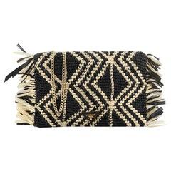 Prada Chain Flap Shoulder Bag Woven Raffia Small