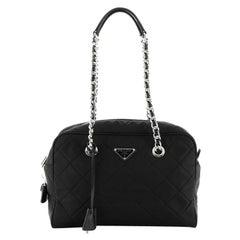 Prada Chain Shoulder Bag Quilted Tessuto Medium