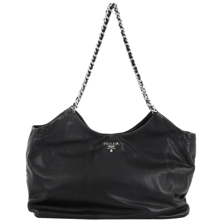 b2d0d35a3344 Prada Chain Tote Soft Calfskin Large For Sale at 1stdibs