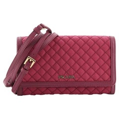 Prada Chain Wallet Crossbody Quilted Tessuto