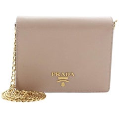 Prada Chain Wallet Crossbody Saffiano Leather