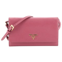 Prada Chain Wallet Crossbody Saffiano Leather