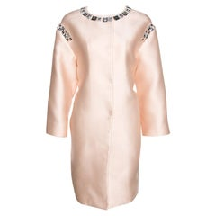 Prada Champagne Satin Embellished Detail Lightweight Coat M