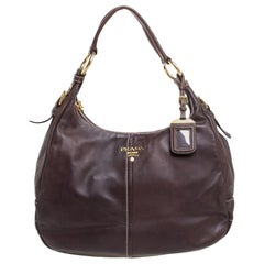 Prada Choco Brown Vitello Soft Leather Hobo