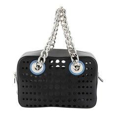 Prada City Fori Chain Shoulder Bag Perforated Calfskin Small