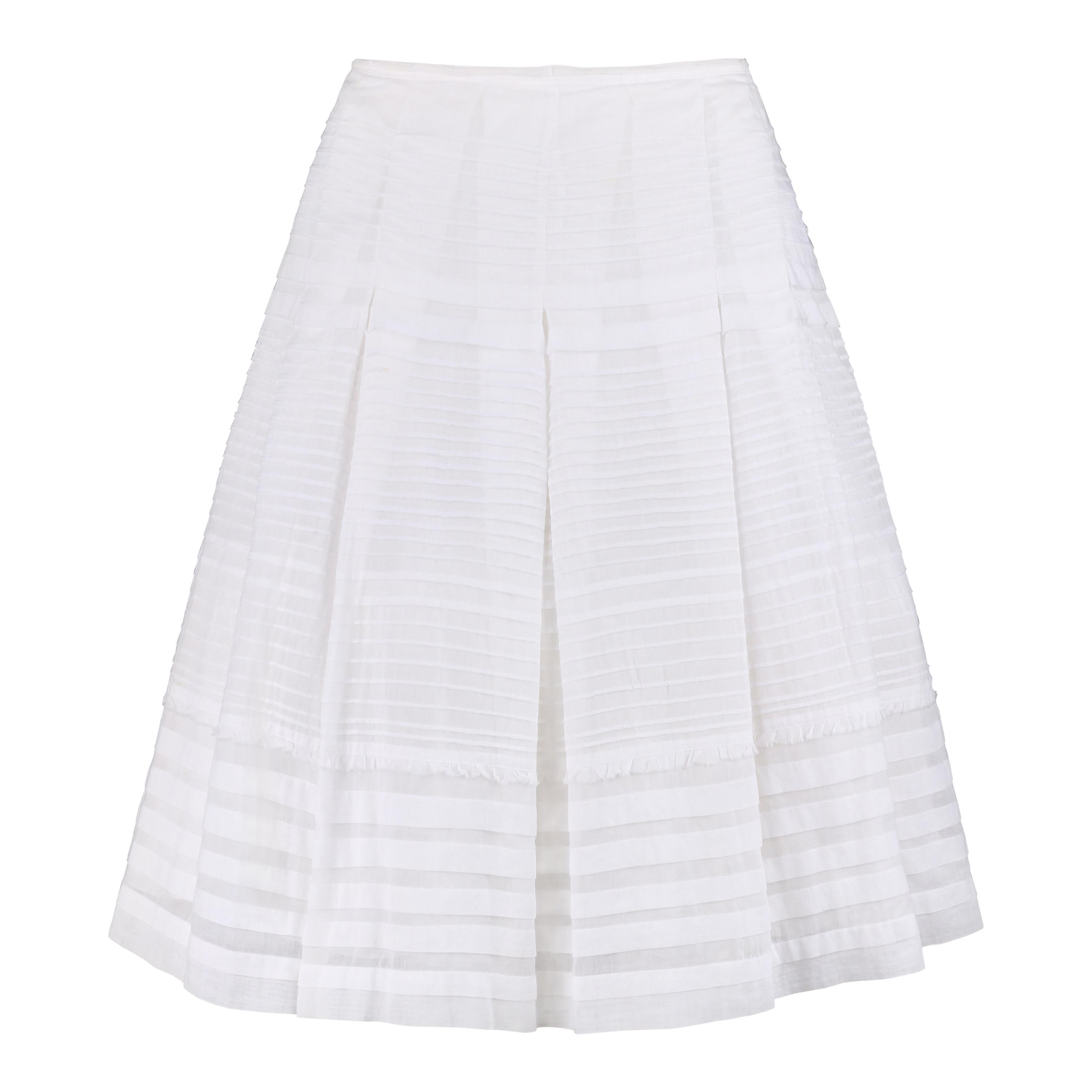 PRADA Classic White Pleated Cotton Tulle Layered Skirt Size 44