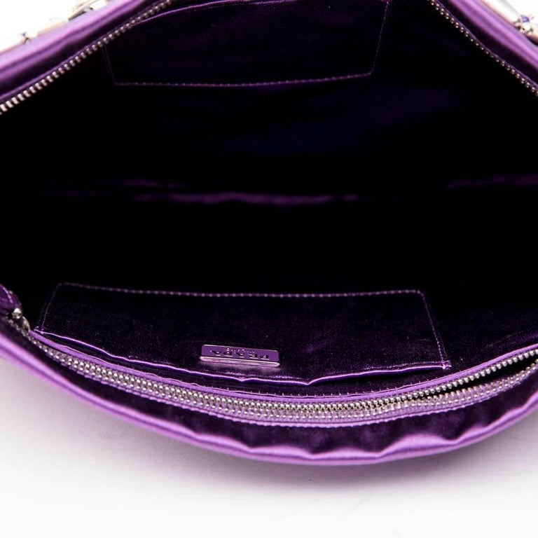 d58cde699759 PRADA Clutch Bag in Purple Satin, Swarovski Crystals and Cabochons For Sale  6