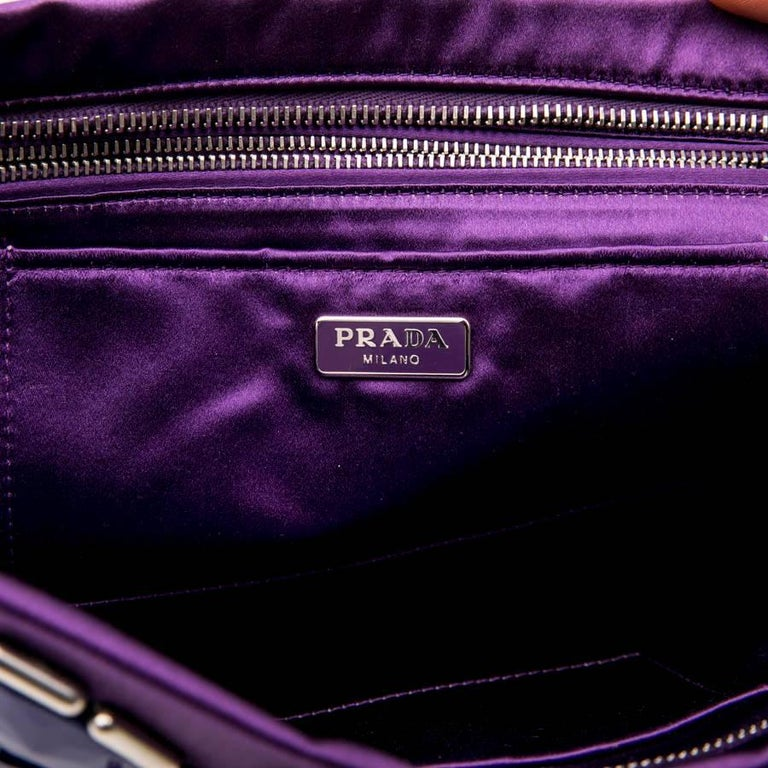 e5ee0a8d83e6 PRADA Clutch Bag in Purple Satin, Swarovski Crystals and Cabochons For Sale  7