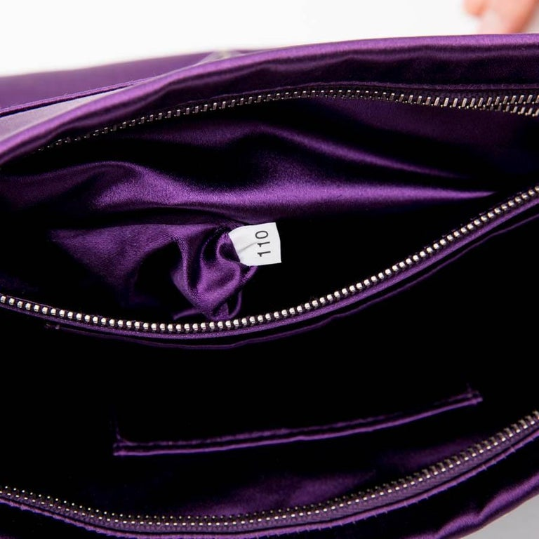 56c785c4cbc5 PRADA Clutch Bag in Purple Satin, Swarovski Crystals and Cabochons For Sale  8