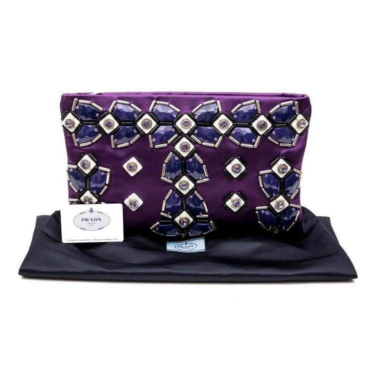 cf2e0f0b1a9a PRADA Clutch Bag in Purple Satin, Swarovski Crystals and Cabochons For Sale  9