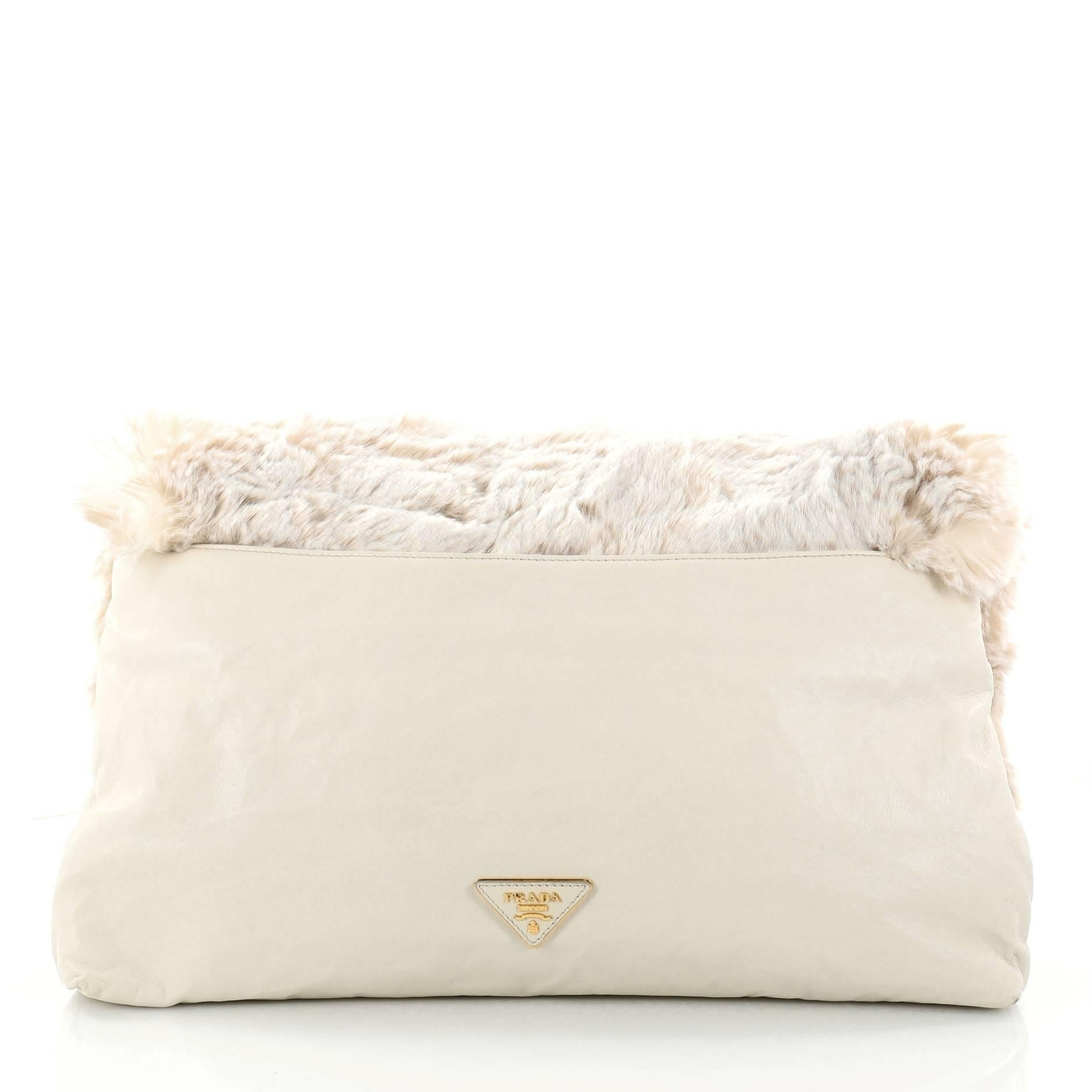 Prada Clutch Faux Fur Oversized n7cTEPud